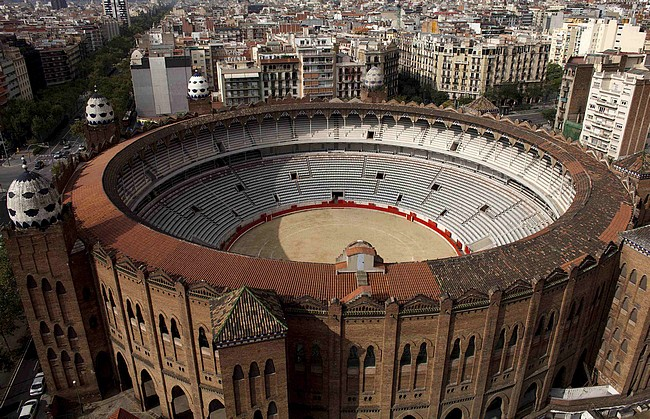 Aerial view outside Monumental bullring, in Barcelona