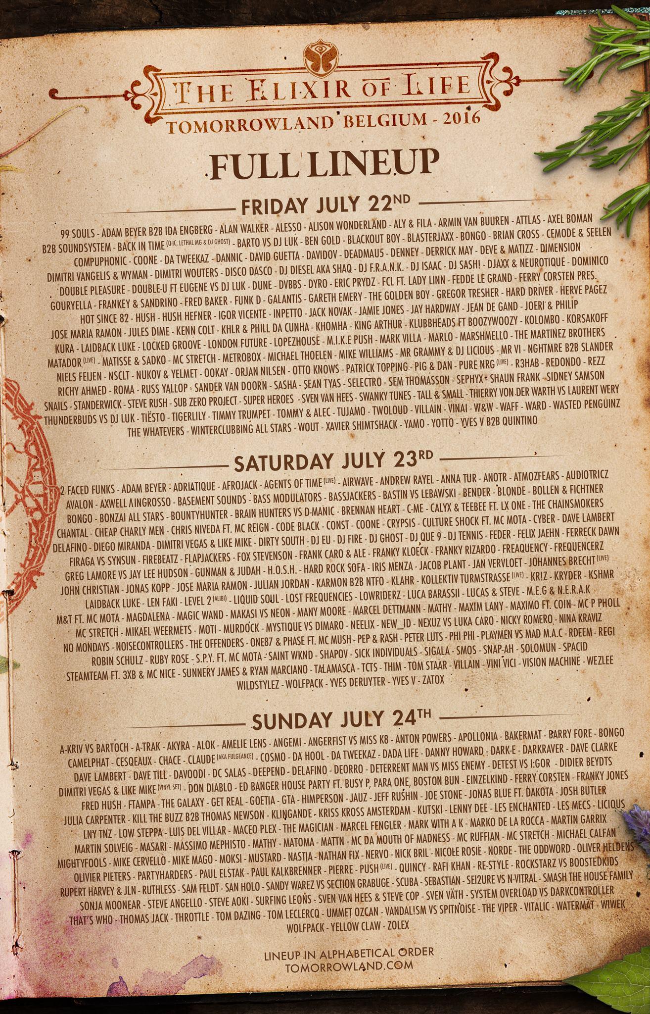 Tomorrowland line up